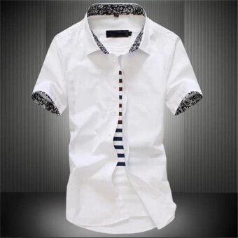 Men Korean Style Short Sleeve Shirt Slim Shirt Casual Shirts YongMen Boy Students Blouse - intl