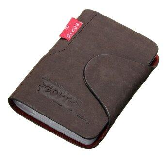 Harga Men Leather Business Credit Card Case ID Pocket Mini Wallet HolderBag 20 Slots Dark Coffee