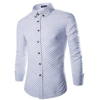 Harga Men Luxury Long Sleeve T-shirts(White) - intl