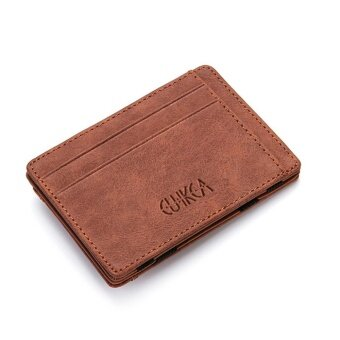 Men Slim Billfold Wallet PU Leather Credit Card Holder Coin Money Clip Zip Bag Coffee - intl