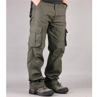 Men's Cargo Pants Casual Mens Pant Multi Pocket Military Overall Men Outdoors High Quality Long Trousers (Army Green) - intl