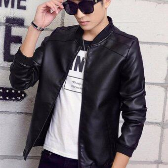 Men's Black Jacket Spring and Autumn Leather Jackets Casual YouthTide men's Clothes - intl