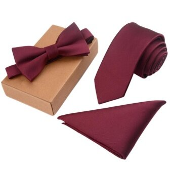Harga Men's Bow Tie Set Business Tie with Pocket Square & Gift Box(Burgundy) - intl