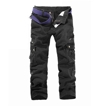 Men's Cargo Pants Casual Multi Pocket Trousers No Belts(Black)