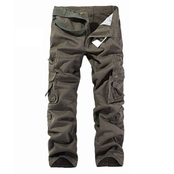 Men's Cargo Pants Casual Multi Pocket Trousers No Belts(Deep Green)