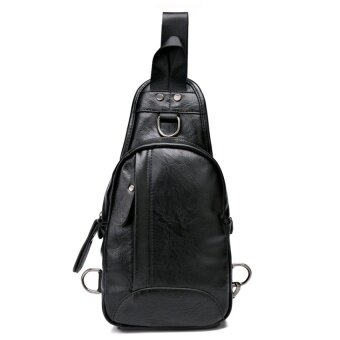 Mens chest pack man bag Korean-style casual Soft Leather small bag sports bag tide mens singles shoulder bag messenger bag male summer (Black) - intl