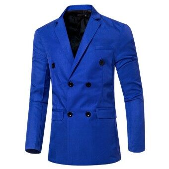 Harga Men's Double Breasted Suit Jacket (Blue)