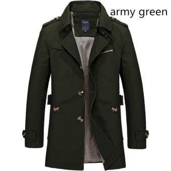 Men's Fashion New Winter Jeep Casual Jacket Long Paragraph CottonWashed Large Code Coat (Army Green) - intl