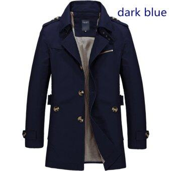 Men's Fashion New Winter Jeep Casual Jacket Long Paragraph CottonWashed Large Code Coat (Dark Blue) - intl