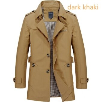 Men's Fashion New Winter Jeep Casual Jacket Long Paragraph CottonWashed Large Code Coat (Khaki) - intl - 2