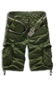 Men's Loose Fit Camouflage Military Cargo Shorts Without Belt (ArmyGreen)