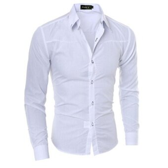 Mens Slim Fit Shirt Long Sleeve Dress Shirts Casual Shirts(White)L- intl