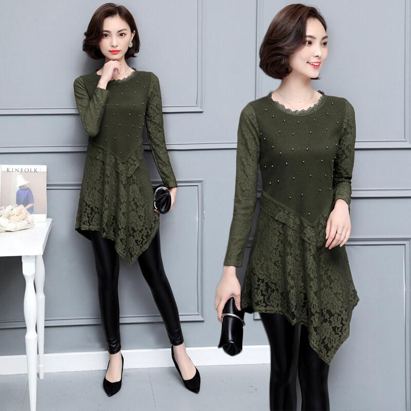 Mm ลูกไม้เสื้อเกาหลีฤดูใบไม้ร่วงและฤดูหนาวเสื้อหลาใหญ่แขนยาว (สีเขียว)