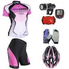 Morning ชุดปั่นจักรยานผู้หญิง NUK สีชมพู/ดำ+หมวกจักรยาน สีชมพู+ถุงมือฟรีไซด์ ลายดอกไม้ +ไมค์จักรยาน สีแดง+ไฟชุดจักรยาน 5 Led รุ่น WJ-101 (สีดำ)