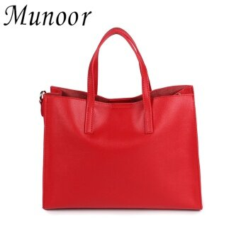 Munoor Italian 100% Genuine Cow Leather Women Tote Bags ShoulderBags Crossbody Travel Holder (Red) - intl
