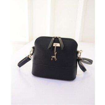 MWshop กระเป๋าหนังเทียม สะพายข้างลำตัว สีดำ
