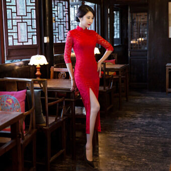 National Wind Chili Red Lace 3/4 Sleeve Cheongsam Dress (Red) -intl