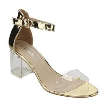 Nature Breeze FI38 Womens Lucite Chunky Heel Ankle Strap Dress Sandals Color:GOLD Size:6 - intl