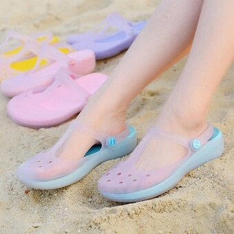 Harga New 2017 Women Sandals color change Mary Jane shoes Summer crocBeach jelly shoes flat sandals woman Slides(Blue) - intl
