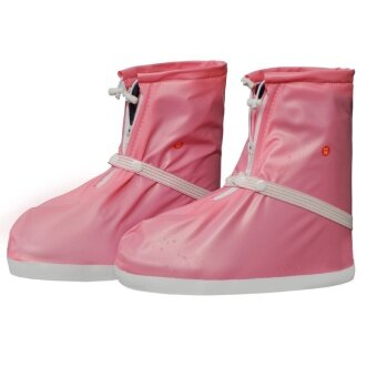 New Arrival Women's Thick Sole Durable Water-proof Anti-skiddingRain Boots Shoes Covers-Pink - intl