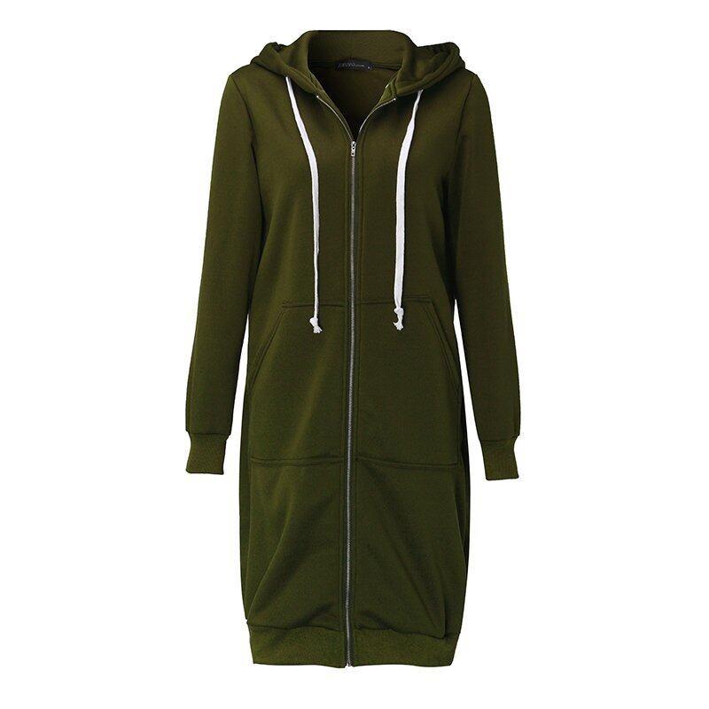 New Arrival ZANZEA Winter Coats Jacket Women Long Hooded Sweatshirts Coat Casual Zipper Outerwear Hoodies Plus Size Army Green - intl