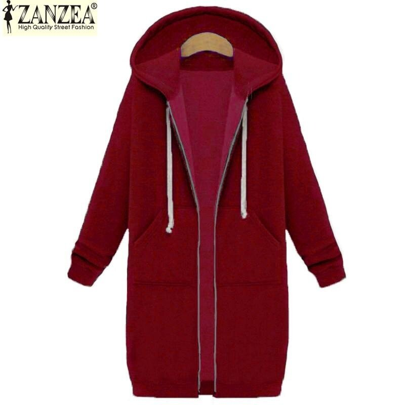 New Arrival ZANZEA Winter Coats Jacket Women Long Hooded Sweatshirts Coat Casual Zipper Outerwear Hoodies Plus Size (Wine Red) - intl