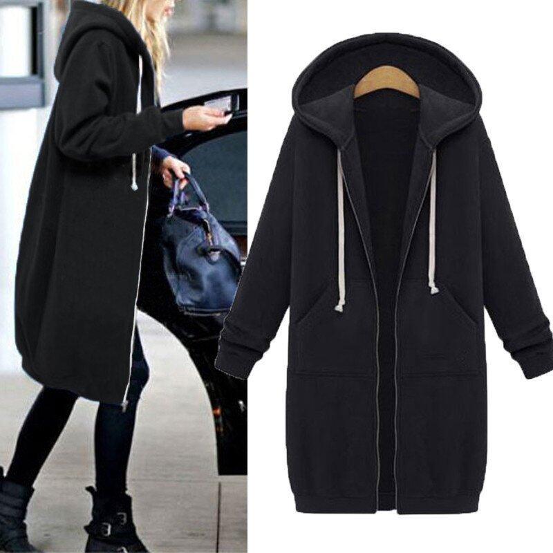 New Arrival ZANZEA Winter Coats Jacket Women Long Hooded Sweatshirts Coat Casual Zipper Outerwear Hoodies Plus Size Black - intl
