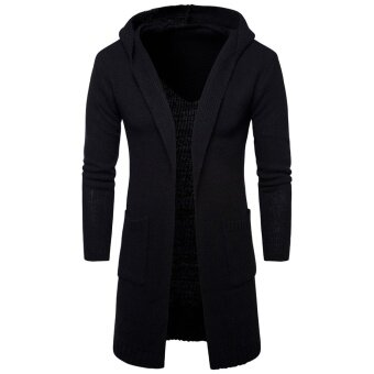 NEW Designed Men Sweater Long Cardigan for Man Hooded Sweater OuterWear Coat Knit Sweaters Black - intl