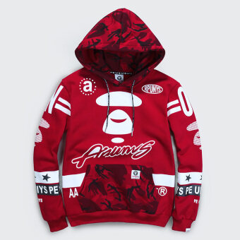 New Fashion Color Printing Front Pockets Soft Men's Hoodie Sweater(red) - intl