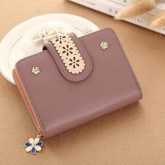 New Korean Women Short PU Leather Clutch Wallet Lace Floral CardHolder (Bean Red) - intl
