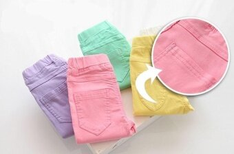 Newest Hot Products Girls Skinny Pants Casual Long Pants CandyColor-Green - intl