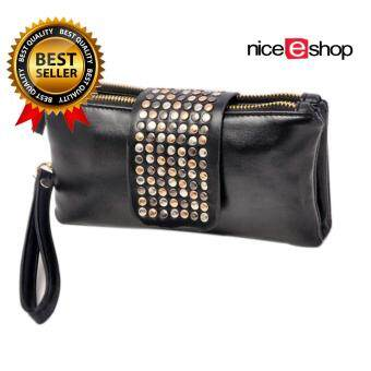 niceEshopPU Leather Bling Rivet Evening Clutch Bags Purse Wallet ,Black