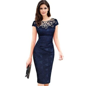 Ocean New Fashion Women Dresses Short sleeves Rose Pencil skirt Budsilk Dress(Dark blue) - intl