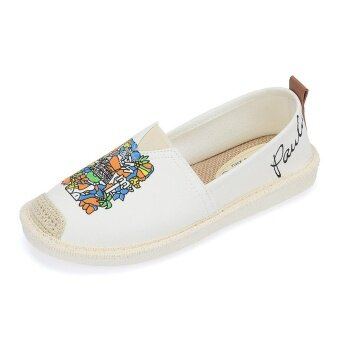 OJ new shoes slip-on straw shoes shoes spring all-match fishermancanvas white shoes - intl