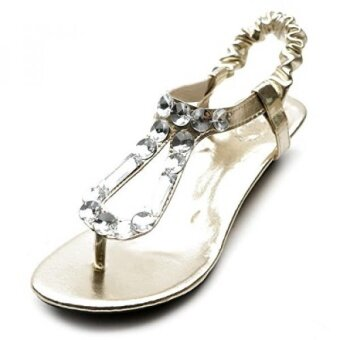 Ollio Womens Shoe Low Heel Beaded Thong Multi Color Sandal M3926 US Gold) - intl