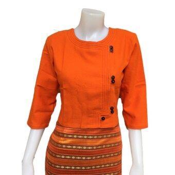 Orawan Closet เสื้อผ้าฝ้ายพื้นเมือง ลายอองชาน (สีส้ม)
