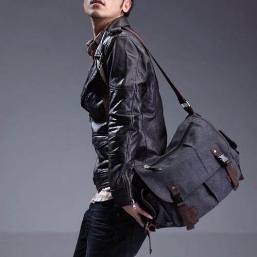 Osaka กระเป๋าผู้ชายสะพายข้าง ผ้าCANVAS  รุ่น NE43 - Black