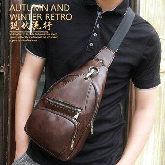 กระเป๋าสะพายไหล่ คาดอกผู้ชาย หนังPU รุ่น KA02 (สีกาแฟ)