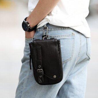 ประกาศขาย กระเป๋าสะพายผู้ชาย หรือห้อยหูกางเกง แบบหนัง PU รุ่น NG200 - สีดำ