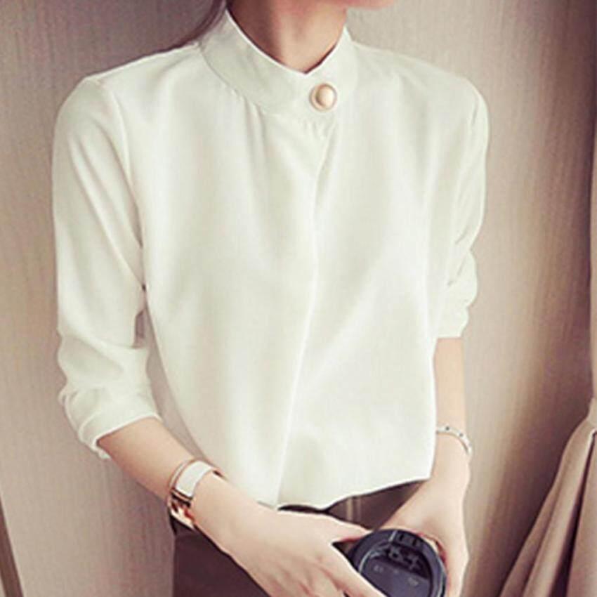 เสื้อใส่ทำงาน ใส่เที่ยว OverSize แขนยาวแต่งกระดุมมุดสีทองที่ปกและปลายแขน Minimal Korean Style (สีขาว)
