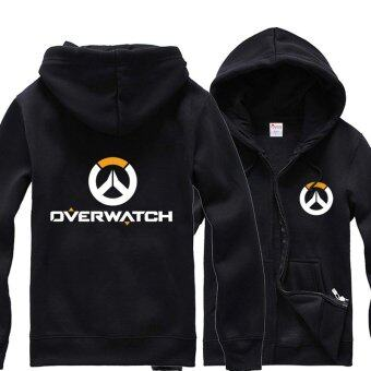 Overwatch Symbol Game Cosplay Coat Men's Women's Jacket CasualSweatshirt Hoodie Coat Collection(Black) - intl