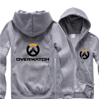 Overwatch Symbol Game Cosplay Coat Men's Women's Jacket CasualSweatshirt Hoodie Coat Collection(Grey) - intl