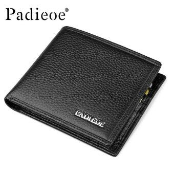 Padieoe Good Quality Men Wallet Business Men's Short Purse 100%Genuine Cow Leather Wallets Card Holders - intl