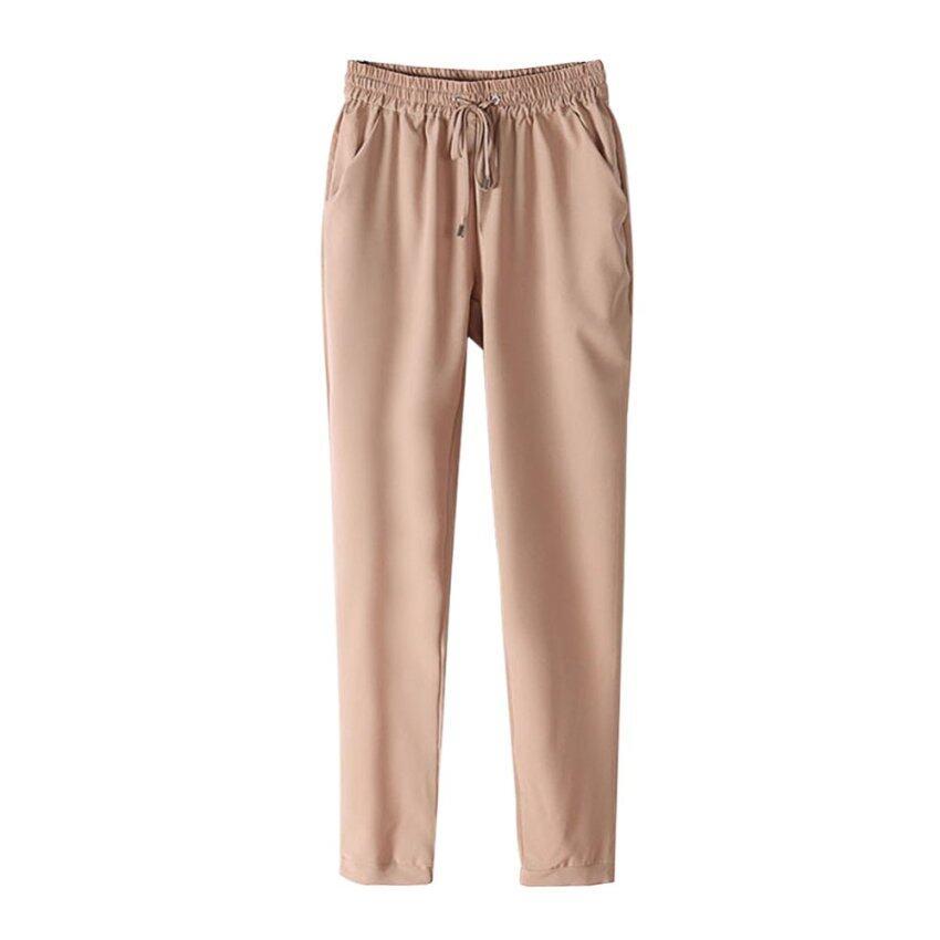 PAlight ชีฟองบางเบาสบายผู้หญิงกางเกงเอวยางยืด (สีเบจ)