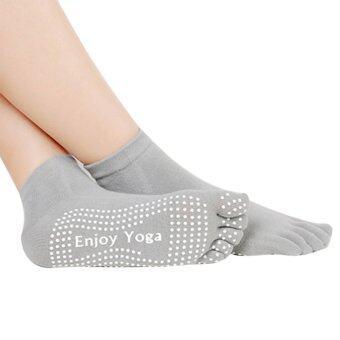 PAlight แอนตี้สลิป 5นิ้วหัวแม่เท้าถุงเท้าโยคะ (สีเทา)