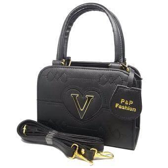 P&P Fashion Bag V กระเป๋าถือแฟชั่นพร้อมสะพายข้างขายดี รุ่น V(สีดำ)