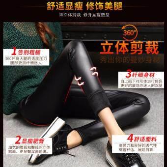 Papada-กางเกงเลคกิ้งหนัง ลองจอน กันหนาว ขายาว สีดำ - 3
