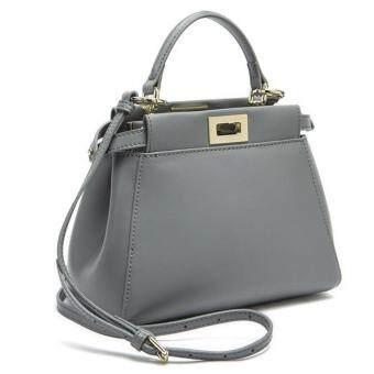 PARBUF กระเป๋าหนังแท้ กระเป๋าถือ สีเทา size 24 cm GL998