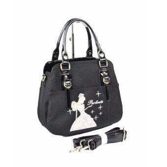 Parlontis G86-4654 สีดำ กระเป๋าถือ ปักลายเจ้าหญิง