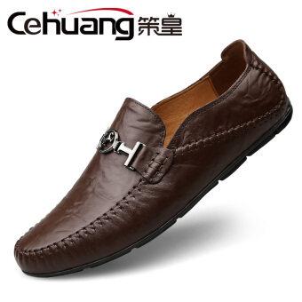ขี้เกียจหนังผู้ชายลำลองรองเท้า Peas รองเท้า (เข้มสีน้ำตาล)